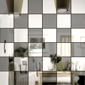 Зеркальная мозайка СЕРЕБРО (50%) + ГРАФИТ (50%) с чипом 50*50 мм