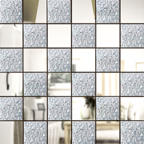 Зеркальная мозайка СЕРЕБРО (50%) + ХРУСТАЛЬ (50%) с чипом 50*50 мм