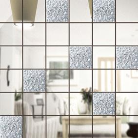 Зеркальная мозайка СЕРЕБРО (70%) + ХРУСТАЛЬ (30%) с чипом 50*50 мм