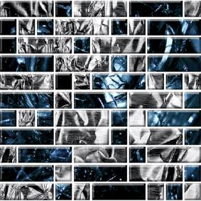 Мозайка стеклянная «КЛАССИКА» с чипами 79*25мм и 25*25мм МСФ-001/2 295*295 мм